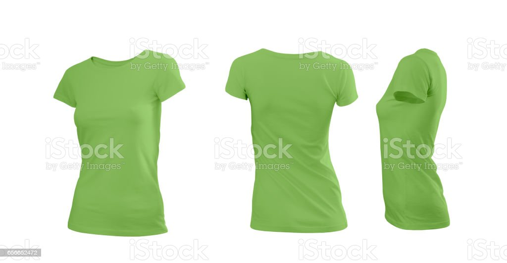 Greenery (color 2017) woman's T-shirt with short sleeves with rear and side view on a white background stock photo