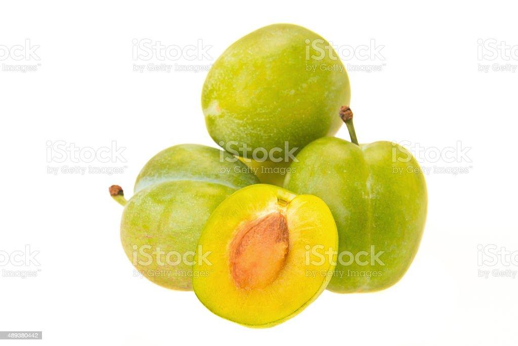 Greengage plums stock photo