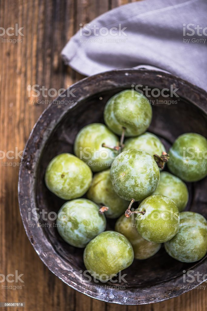 Greengages french plumes stock photo