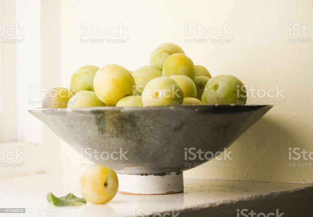 Greengages in a Bowl stock photo