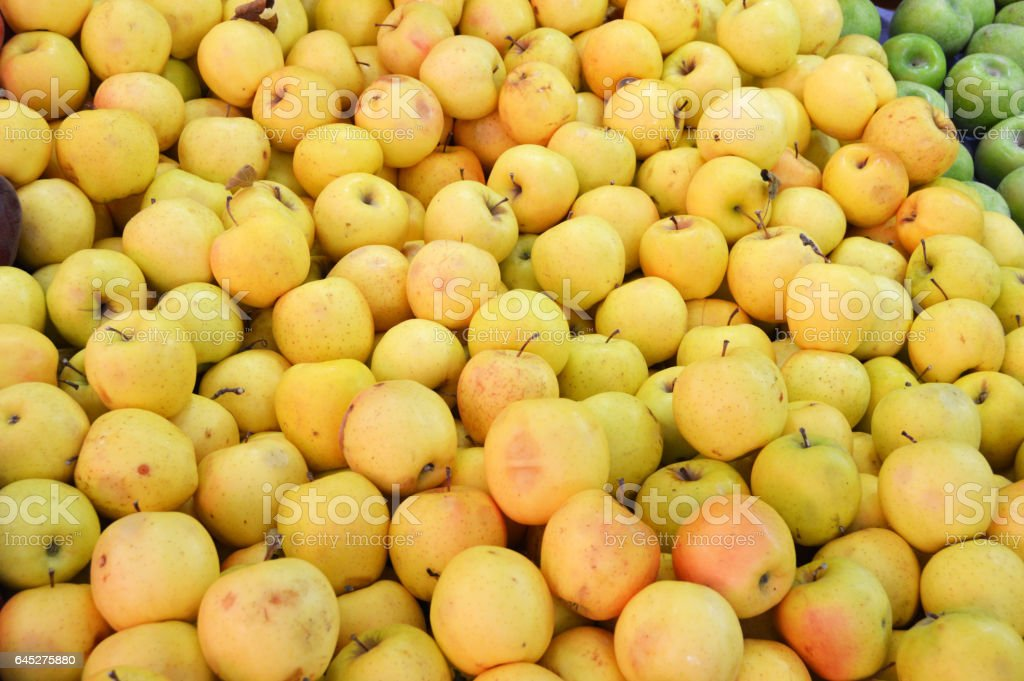 Greengrocer and Sale of red apples, green apples ,yellow apples,pictures stock photo