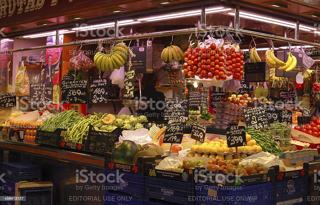 Greengrocer shop in market. Barcelona. Spain royalty-free stock photo