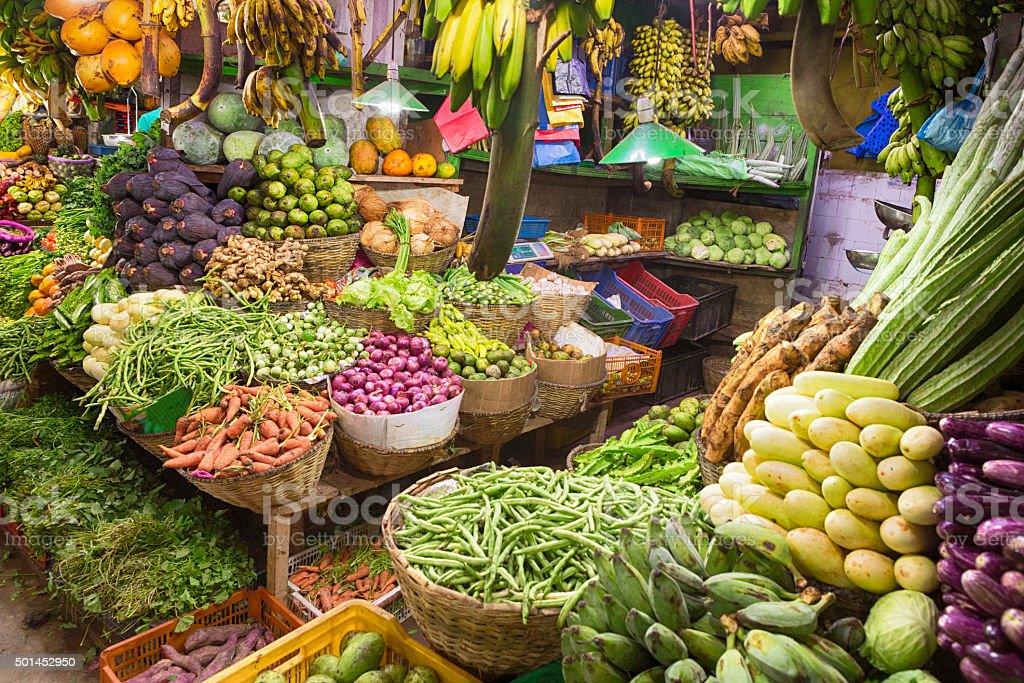 Greengrocer Shop, Nuwara Eliya Central Market, Sri Lanka stock photo