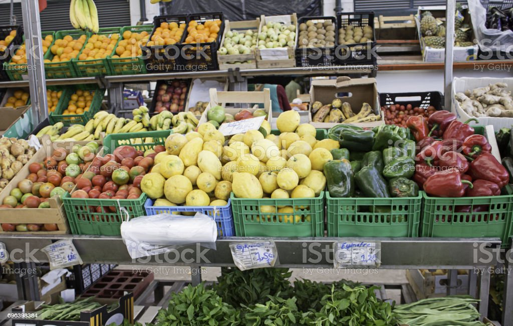 Greengrocer with vegetables stock photo