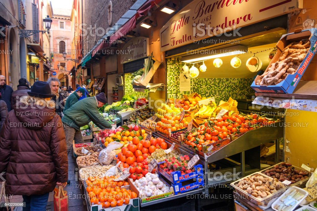 greengrocers display wares Pescherie Vecchie famous street historic center Bologna stock photo