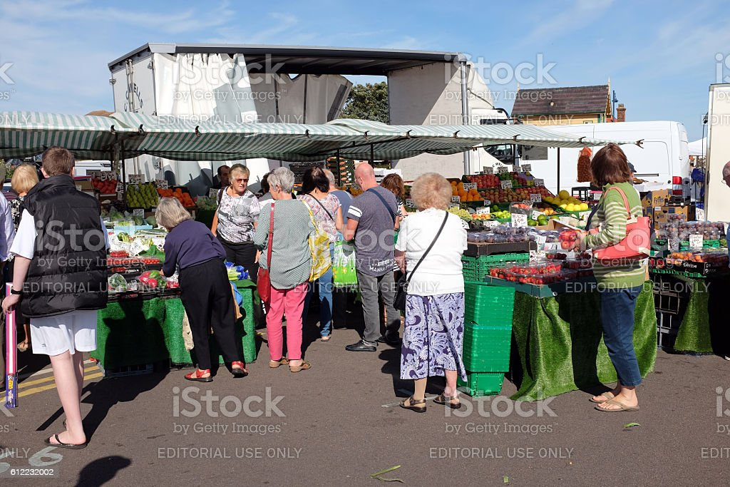 Greengrocer's market stall. stock photo