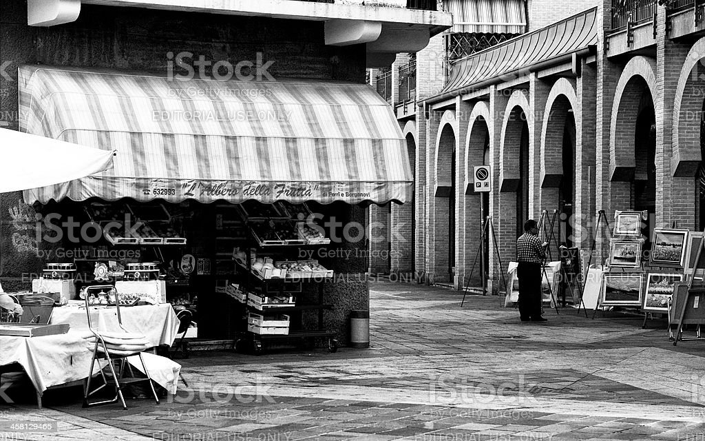 Greengrocer's Shop. Black and White royalty-free stock photo