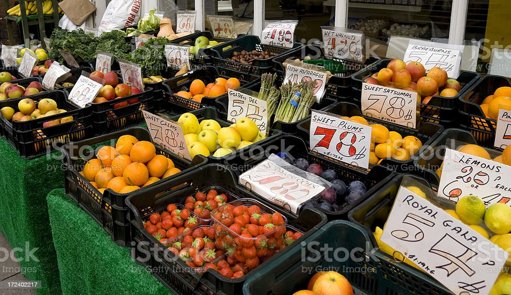 Greengrocer's shop front stock photo