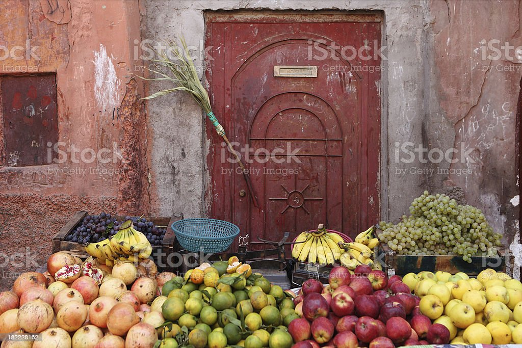 Greengrocer's Shop, Marrakech, Morocco stock photo