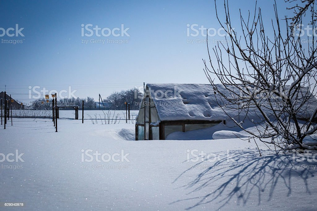 Greenhouse in snowdrift lit by moonlight at night stock photo