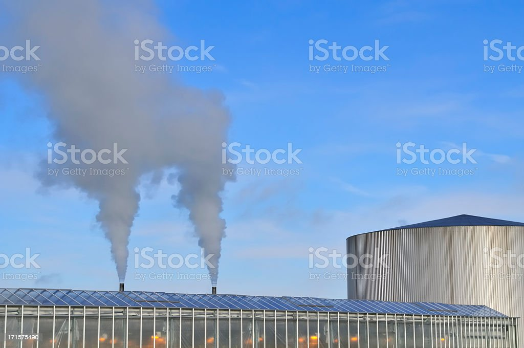 Greenhouse smoke stock photo