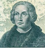 A greenish-black sketch of Christopher Columbus
