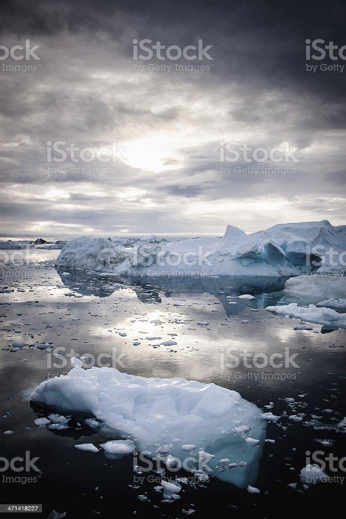 Greenland Arctic Nature Icebergs Fragile Environment stock photo