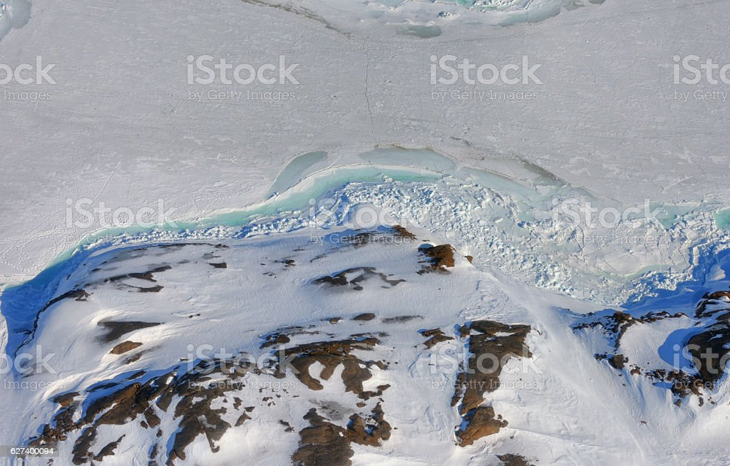 Greenland ice and land stock photo