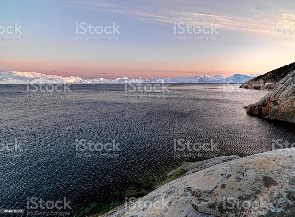 Greenland Icebergs and glaciers stock photo