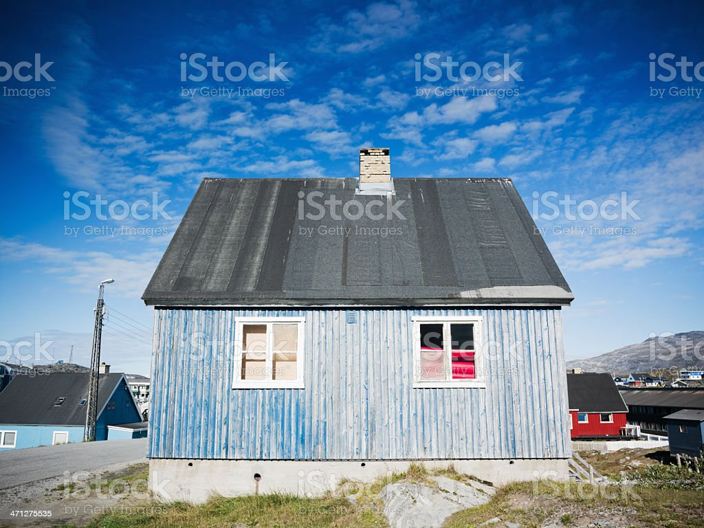 Greenland Nuuk Wooden House Exterior stock photo