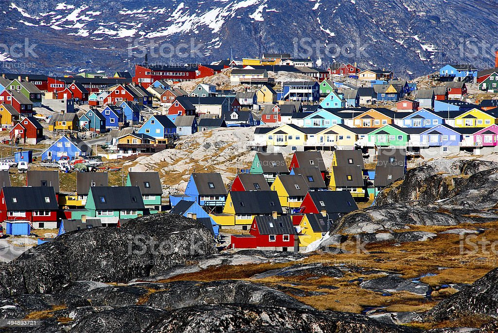 Greenland..green, and all the colors of the rainbow stock photo