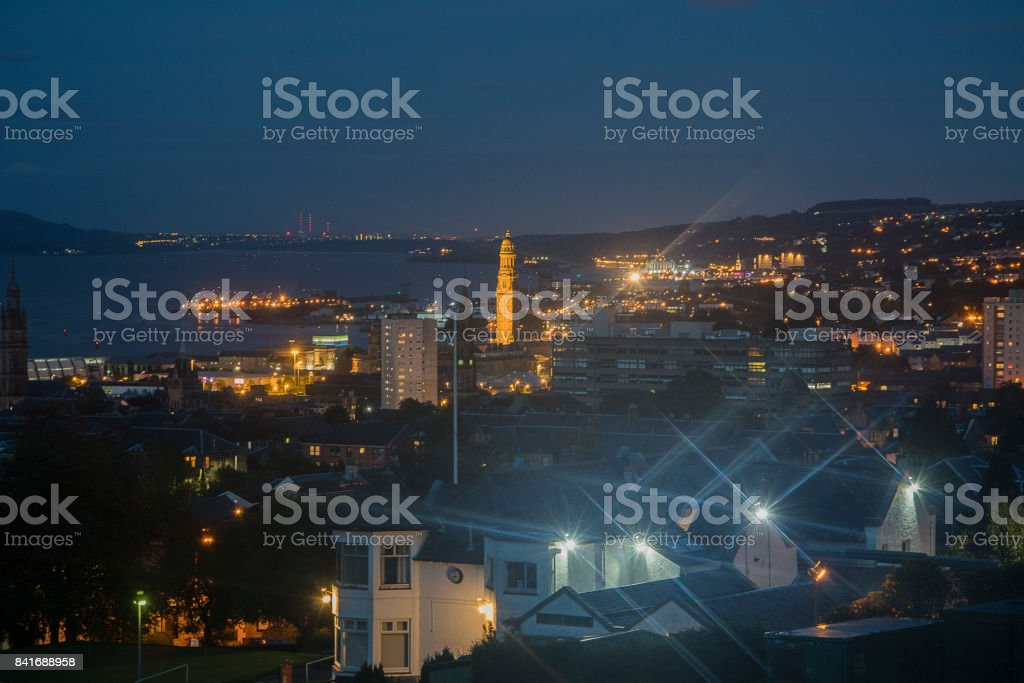 Greenock at  night stock photo