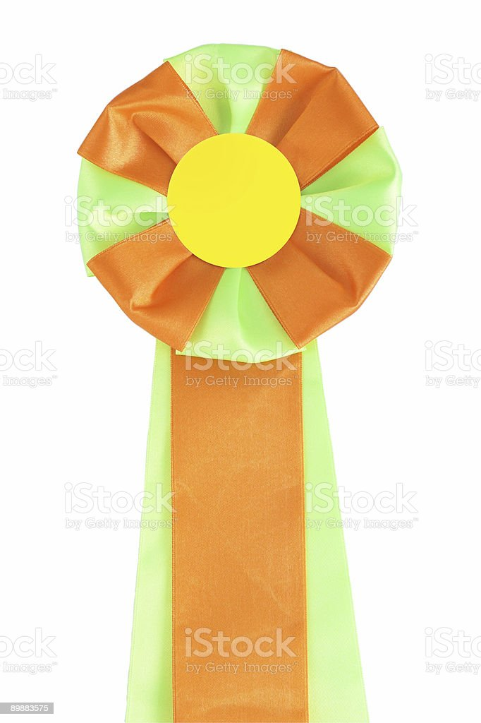 Green-orange ribbon rosette royalty-free stock photo