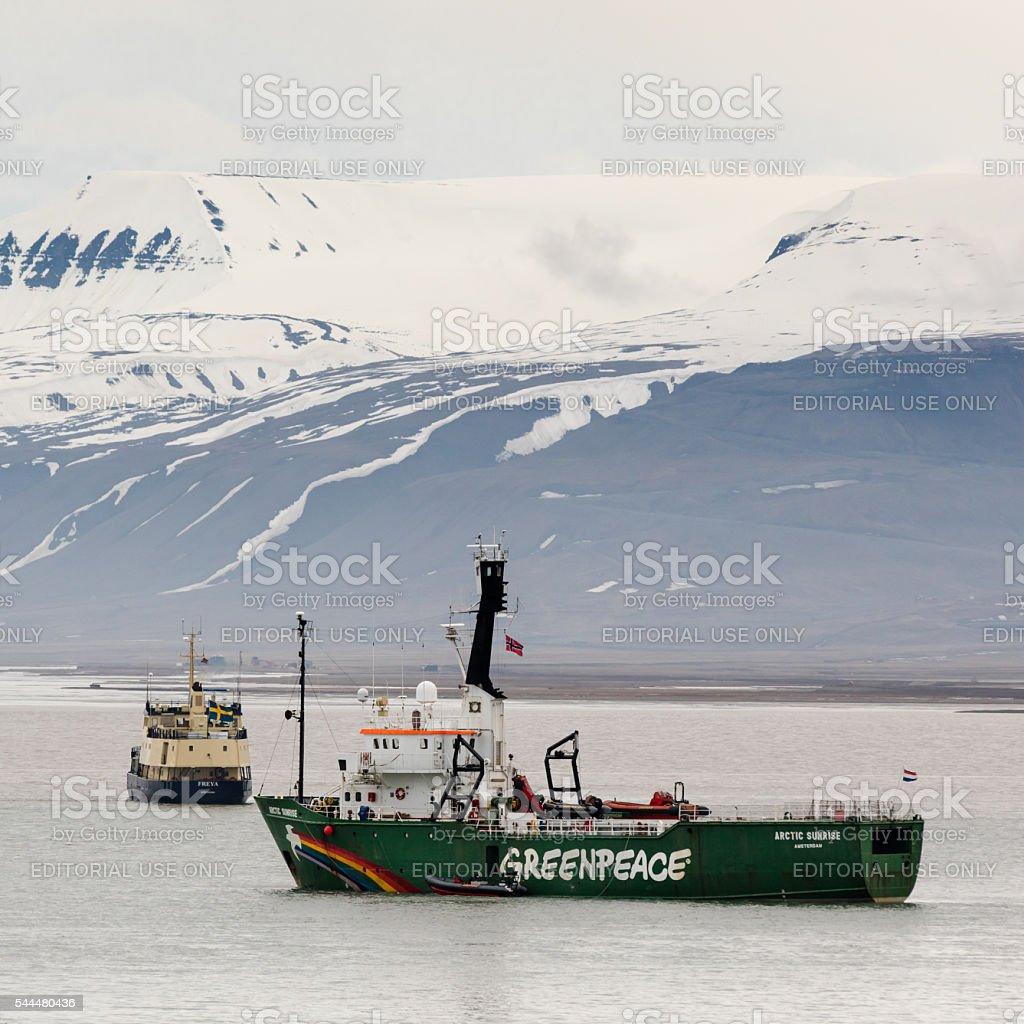 Greenpeace ship anchored in Adventfjorden off Longyearbyen, Spitsbergen, Norway stock photo