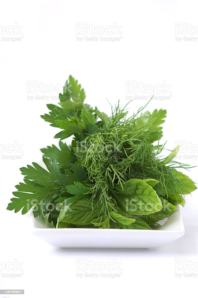 Greens on the plate royalty-free stock photo
