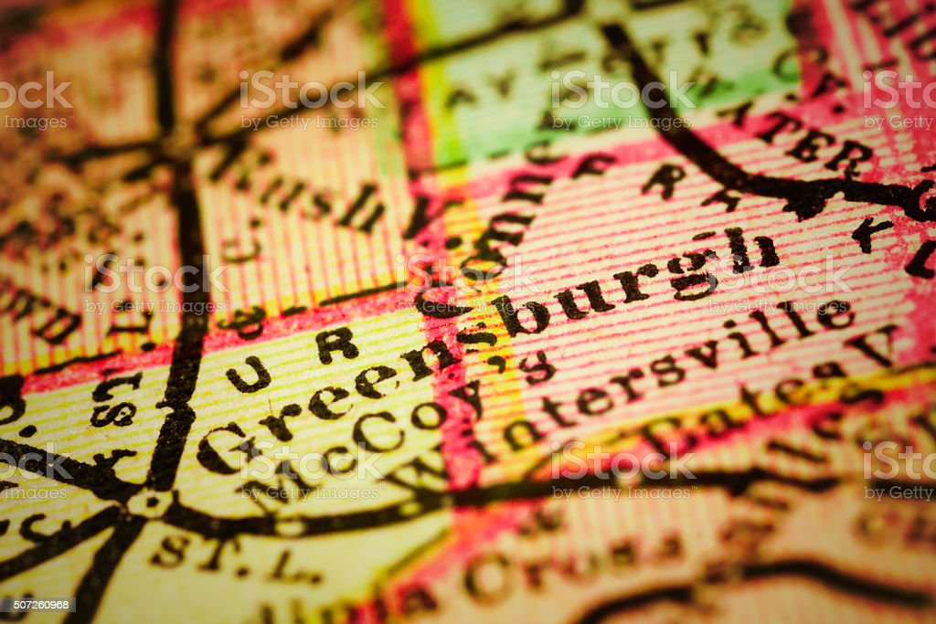 Greensburg, Indiana on an Antique map stock photo