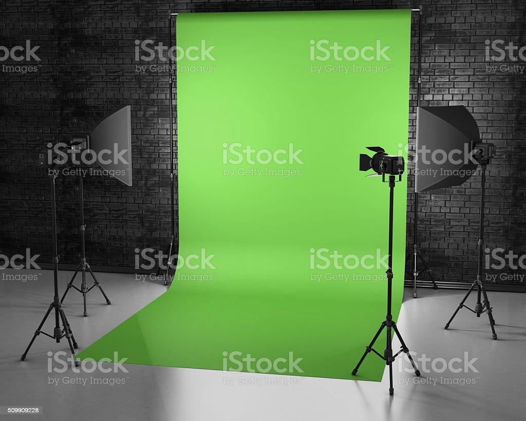 Greenscreen studio with lightbox and softbox. stock photo