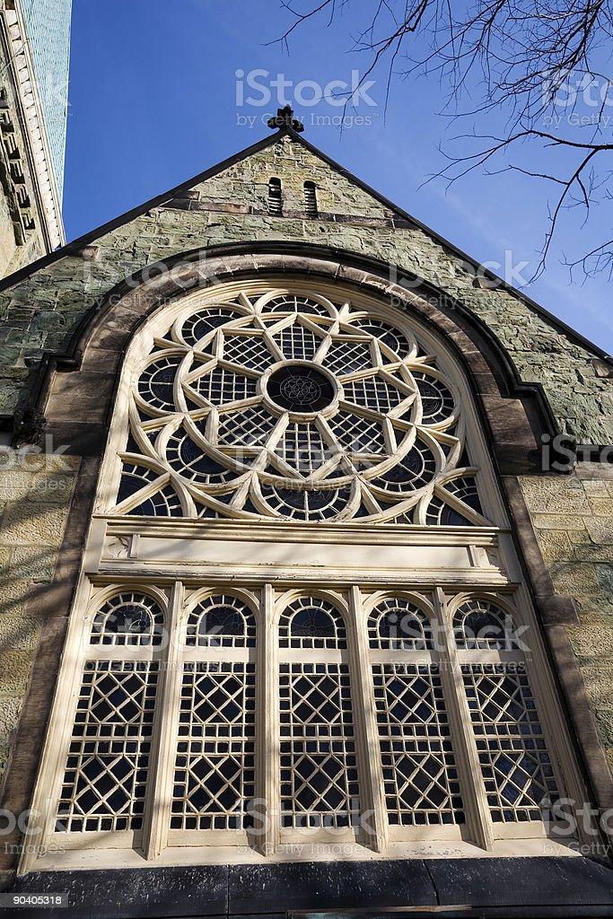 Greenstone Church Window, Pullman,  Chicago stock photo