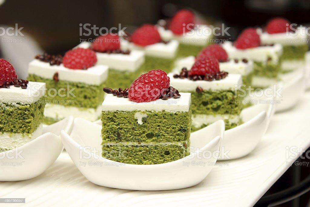 greentea cake with fresh raspberry stock photo