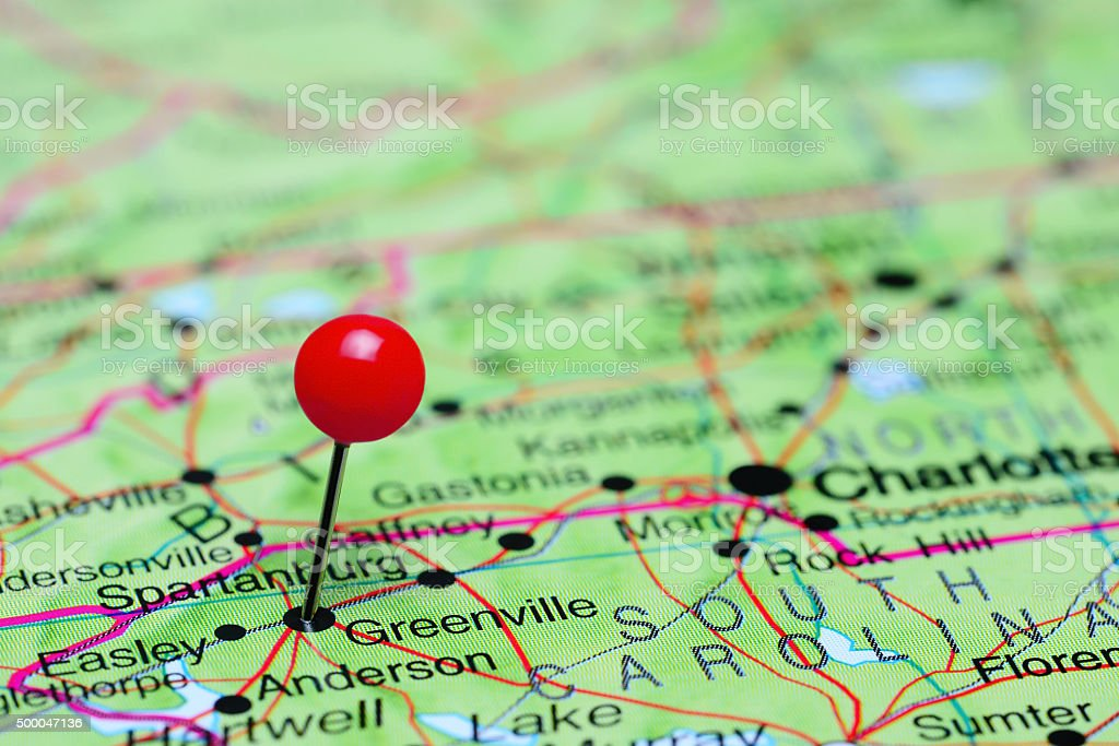 Greenville pinned on a map of USA stock photo