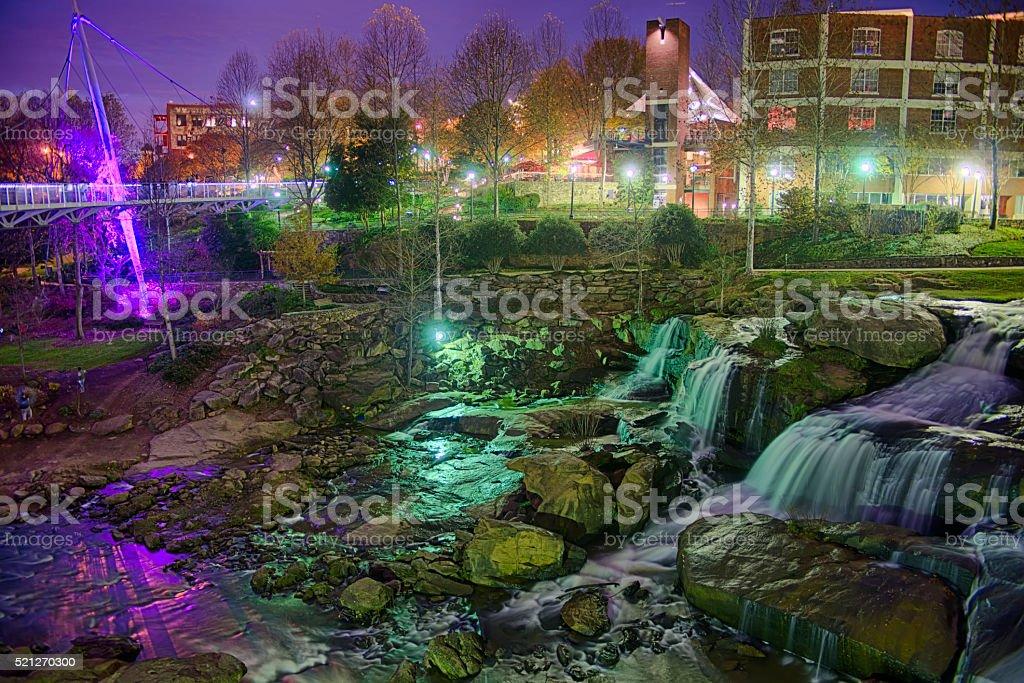 Greenville South Carolina near Falls Park River Walk at nigth. stock photo