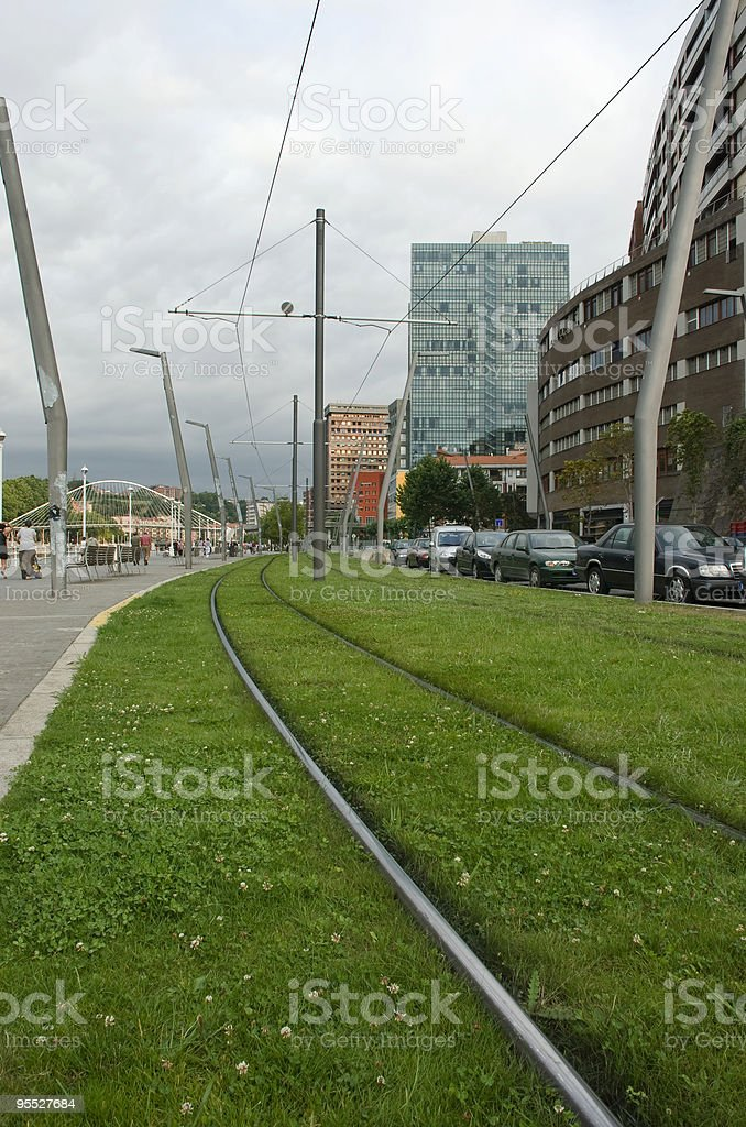 V?a verde - Green railway royalty-free stock photo