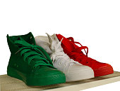 Green-white-red gym shoes are how italian flag.