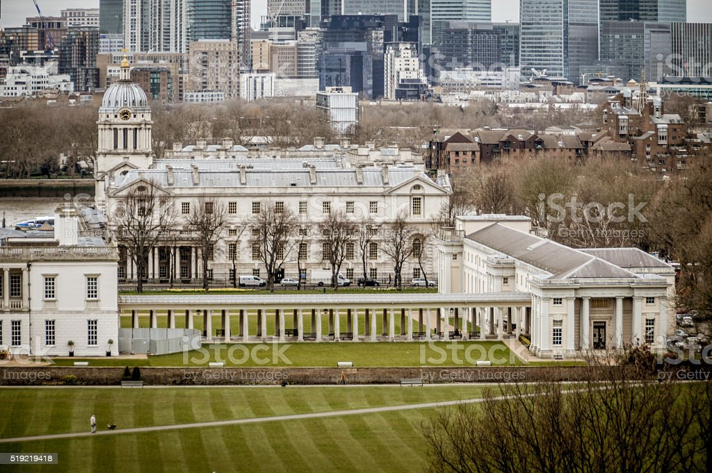 Greenwich and Canary Wharf in London stock photo