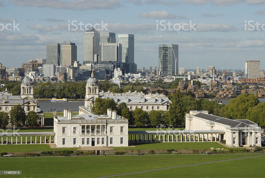Greenwich and Canary Wharf stock photo