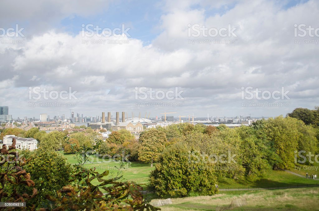 Greenwich Park and London's East End stock photo