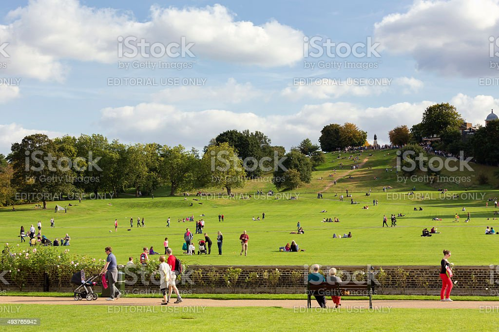 Greenwich Park and Royal Observatory in London stock photo