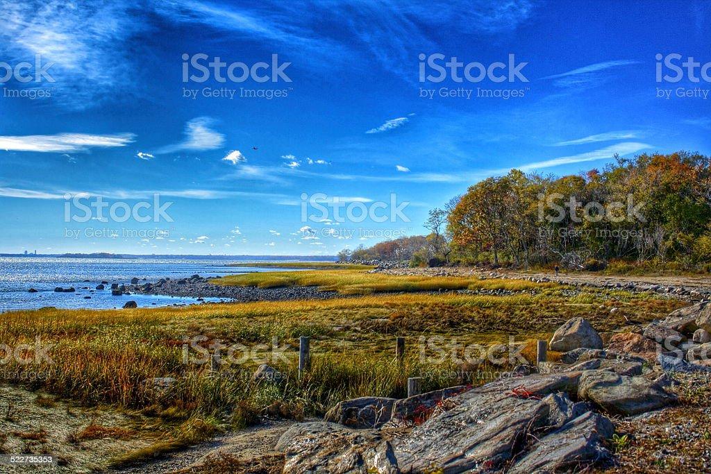 Greenwich Point Park Shoreline in Autumn stock photo