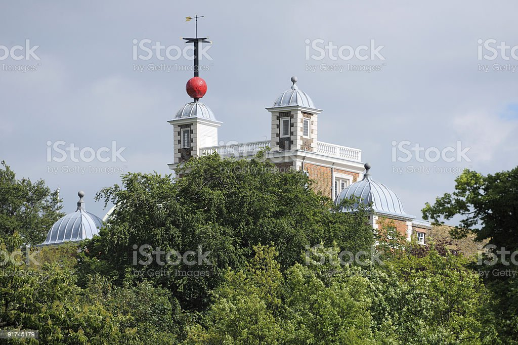 Greenwich Time Ball over Flamsteed House, London, England, UK stock photo