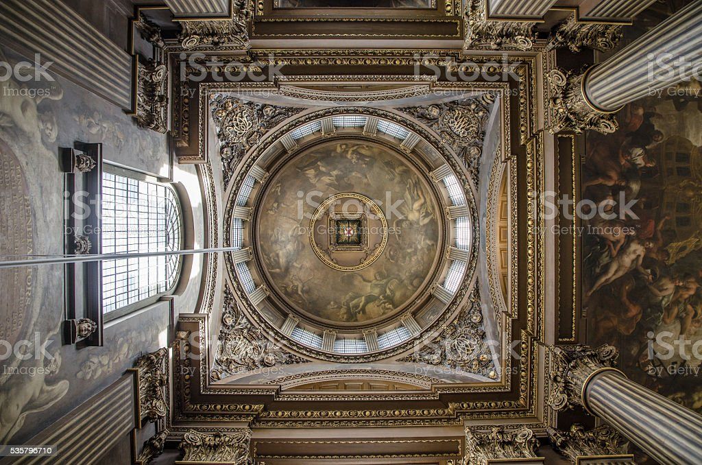Greenwich University:  Queen Mary Court dome from interior stock photo