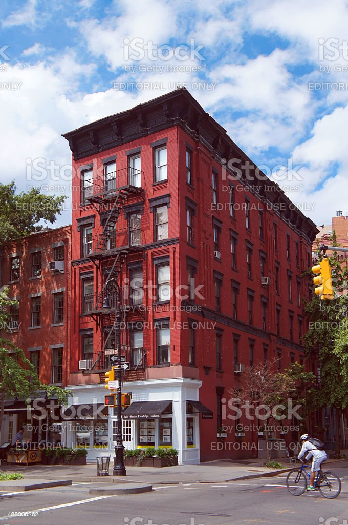 Greenwich village district on summer sunny day stock photo