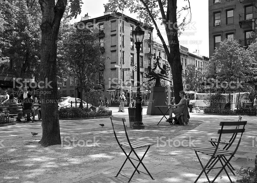 Greenwich Village Park scene, Bleecker Street, New York City stock photo