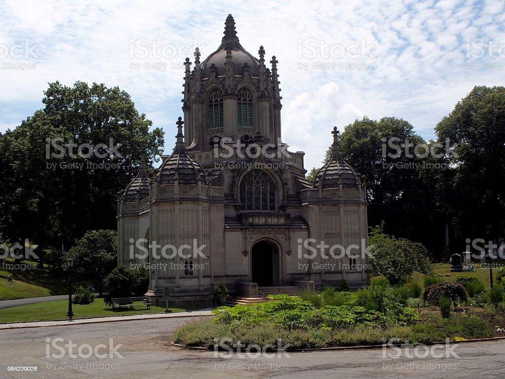 Green-wood cemetery chapel stock photo