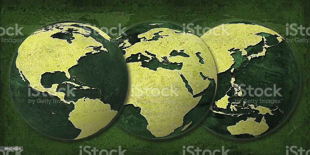 Greenworld, Three Hemispheres same size royalty-free stock photo