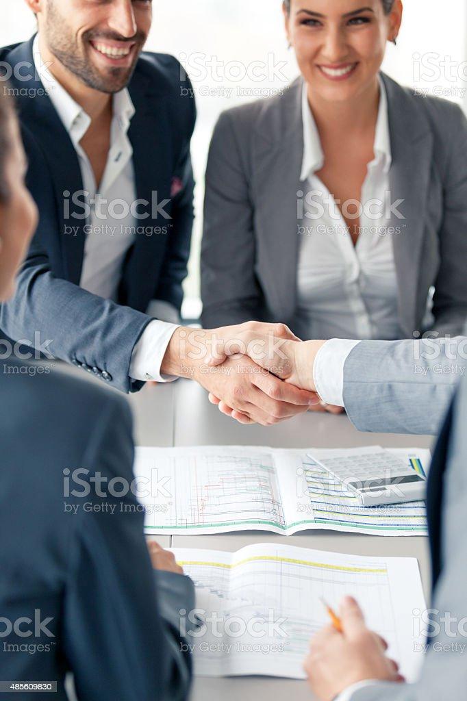 Greeting an advisor stock photo