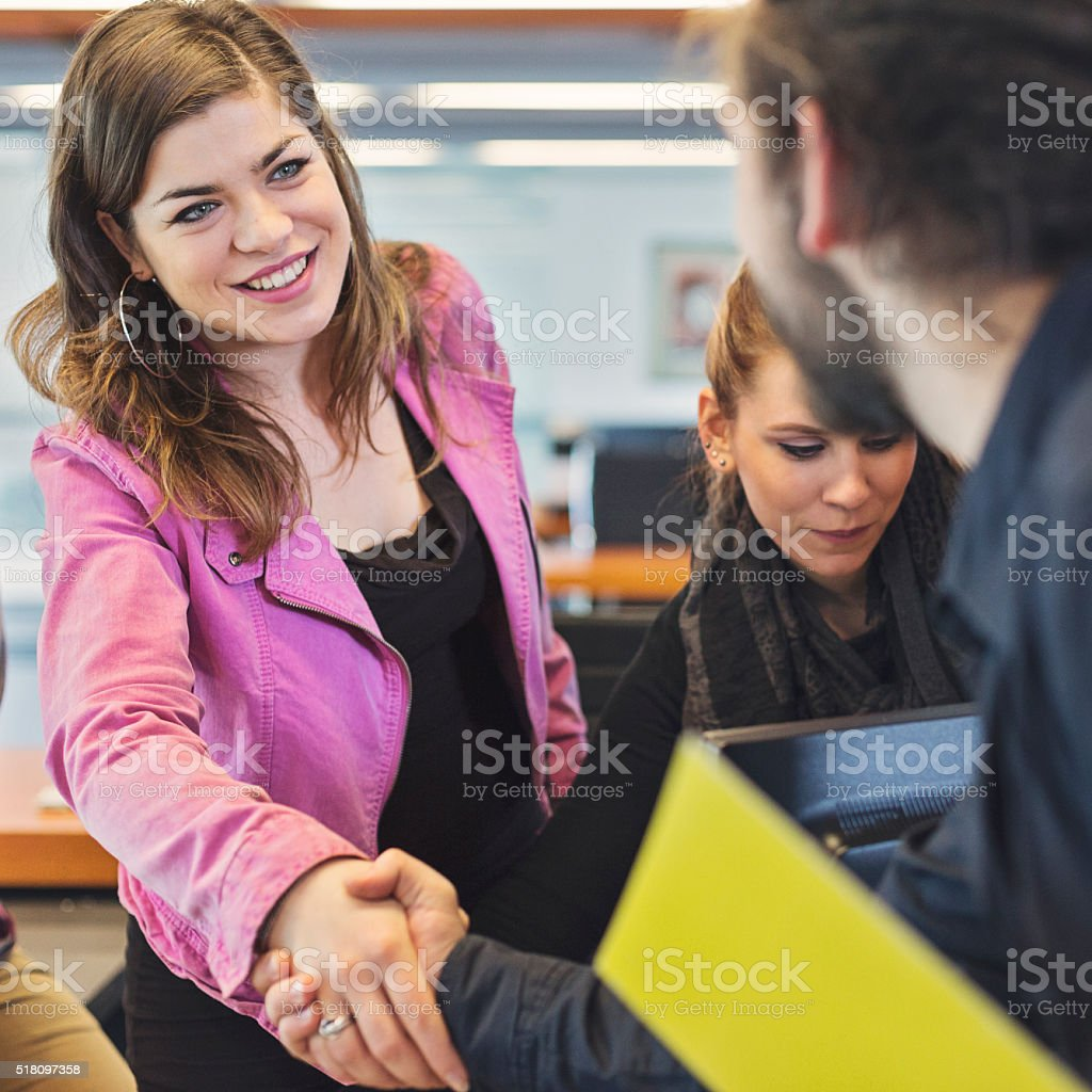Greeting an advisor stock photo