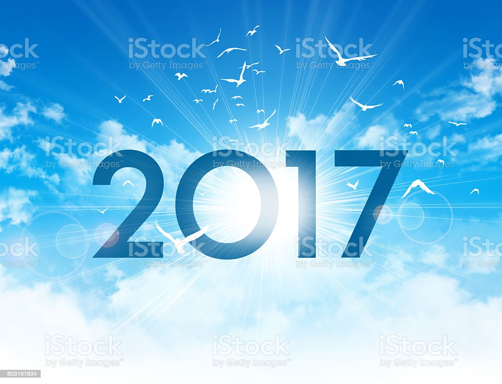 Greeting card 2017 stock photo