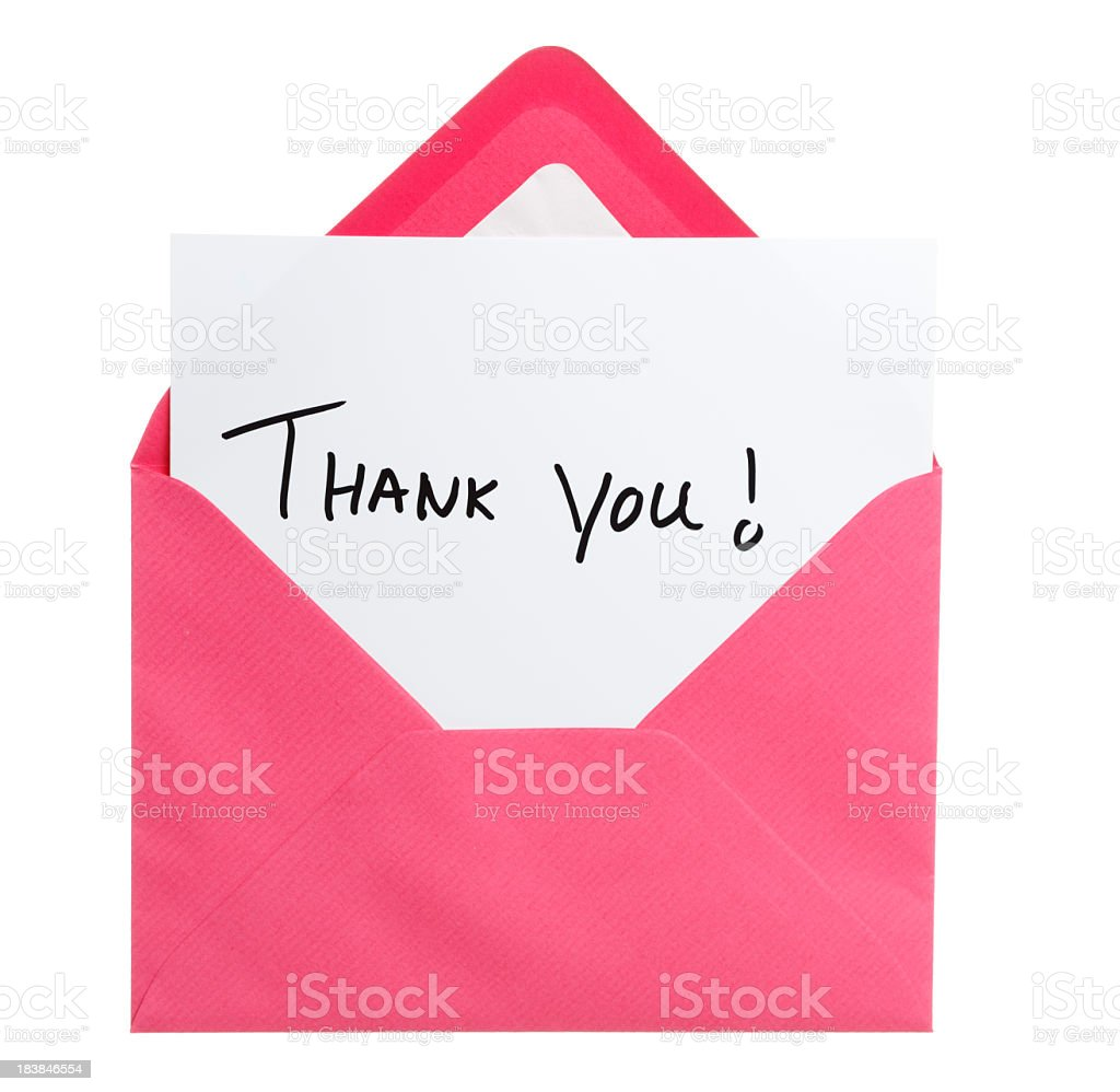 Greeting card in pink envelope stock photo