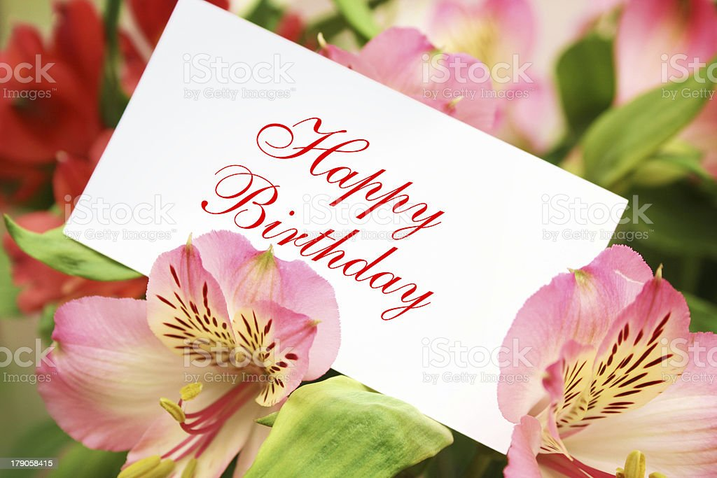 Greeting card in the bouquet royalty-free stock photo