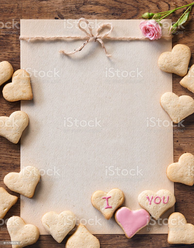 Greeting card mock up for Valentine's day stock photo